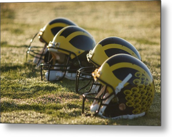 Metal Print featuring the photograph Helmets On The Field At Dawn by Michigan Helmet