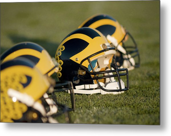 Metal Print featuring the photograph Helmets On The Field by Michigan Helmet