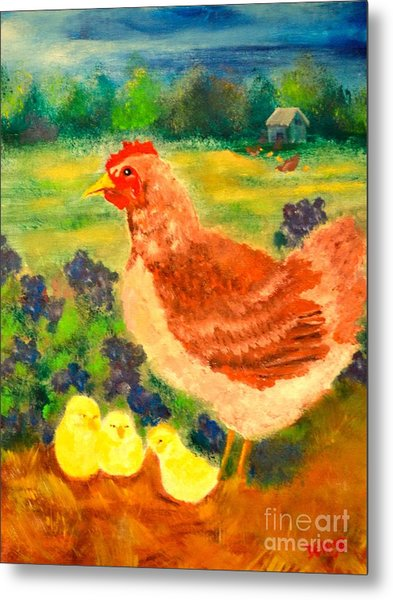 Hen And Chick Metal Print