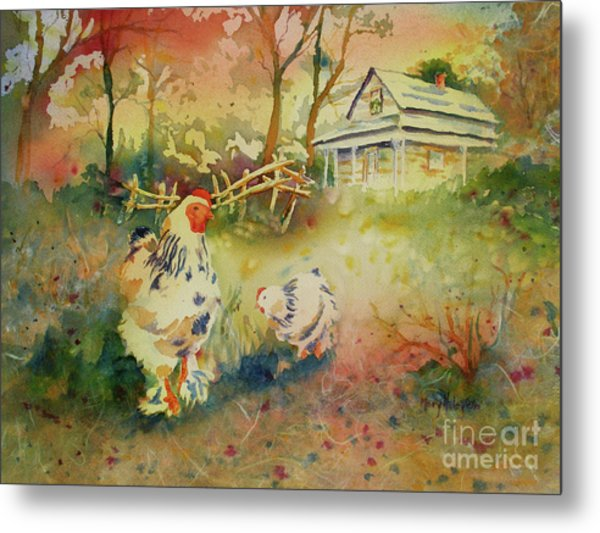 Hen And Rooster Metal Print