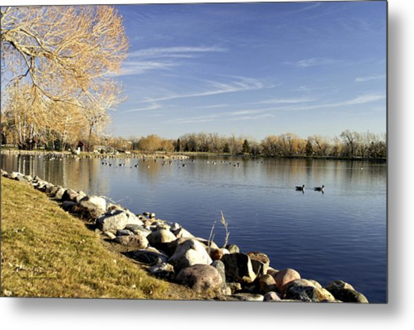 Henderson Lake Waiting For Winter Metal Print