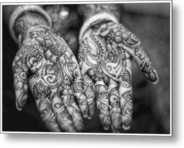 Henna Hands Black And White Metal Print