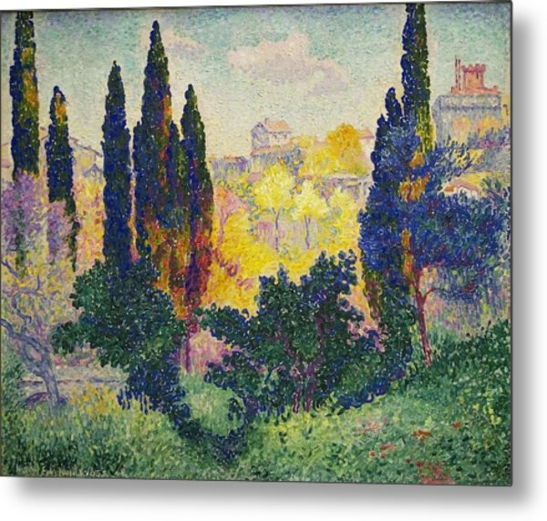 Henri Edmond Cross French Les Cypres A Cagnes Metal Print