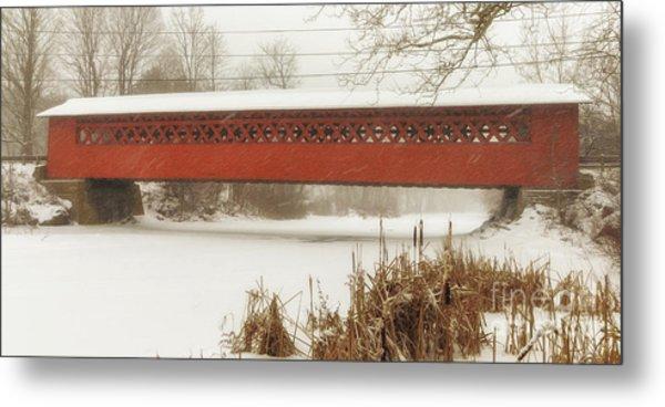Henry Covered Bridge In Winter Metal Print