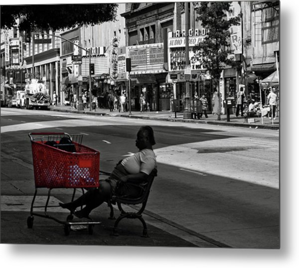 Metal Print featuring the photograph Her Red Cart by Lorraine Devon Wilke