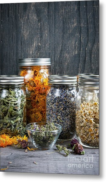 Metal Print featuring the photograph Herbs In Jars by Elena Elisseeva
