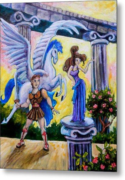Hercules Pegasus And Meg Metal Print by Sebastian Pierre