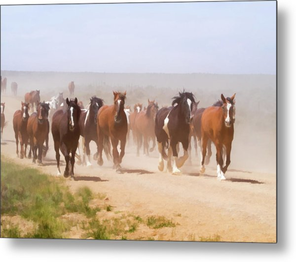 Metal Print featuring the digital art Herd Of Horses During The Great American Horse Drive On A Dusty Road by Nadja Rider