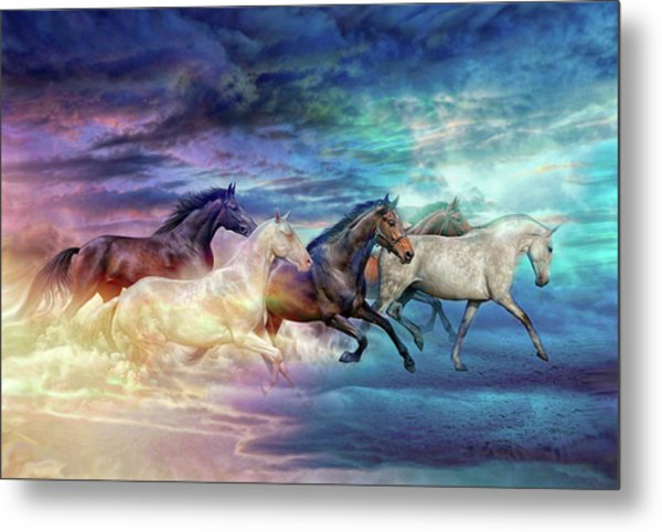 Herd Of Horses In Pastel Metal Print