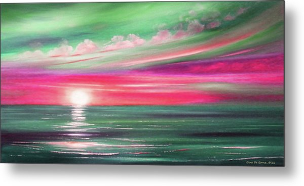 Here It Goes In Teal And Magenta Panoramic Sunset Metal Print