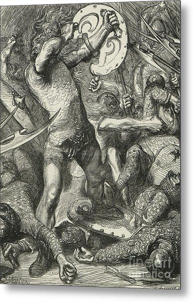 Hereward Cutting His Way Through The Norman Host Metal Print