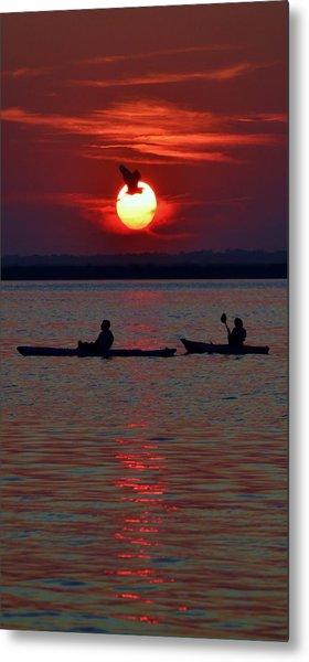 Heron And Kayakers Sunset Metal Print