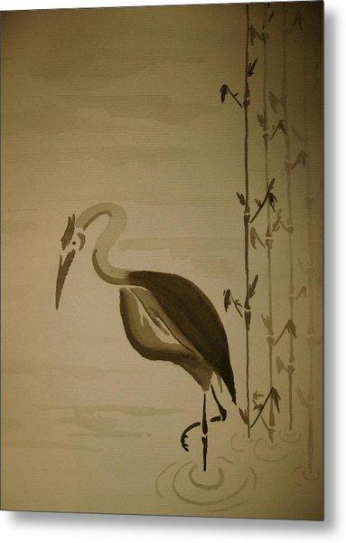 Heron In Sumi-e Metal Print by Jeff DOttavio
