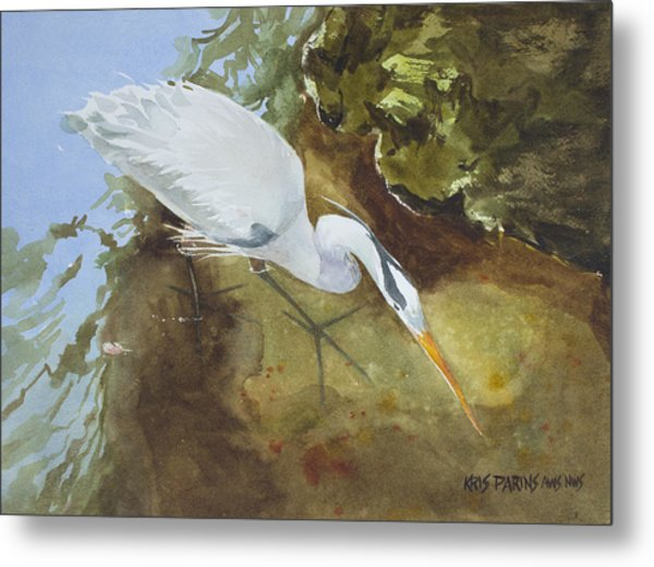 Heron Under The Bridge Metal Print