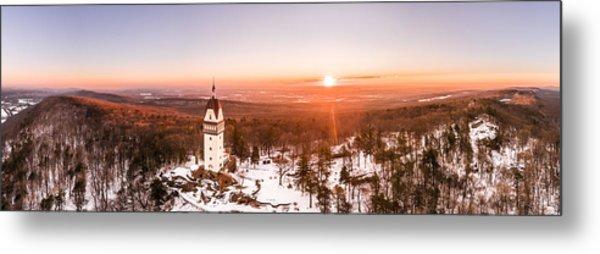 Heublein Tower In Simsbury Connecticut, Winter Sunrise Panorama Metal Print