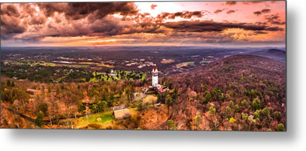 Heublein Tower, Simsbury Connecticut, Cloudy Sunset Metal Print