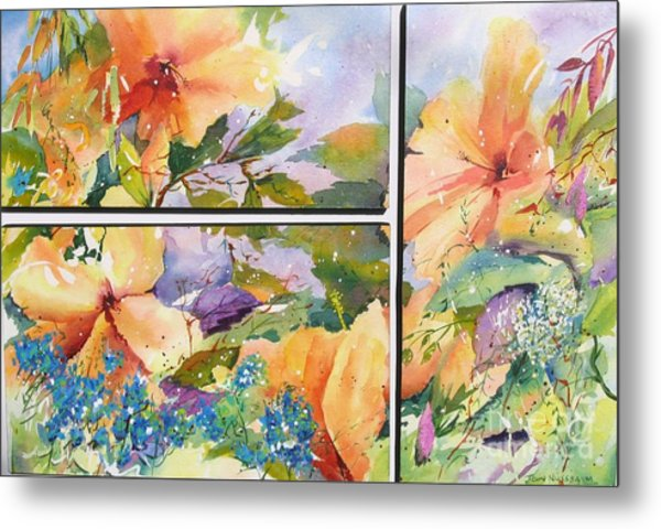 Hibiscus Triptych Metal Print