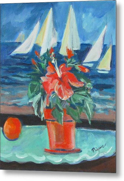 Hibiscus With An Orange And Sails For Breakfast Metal Print