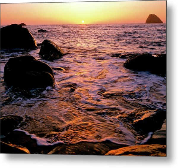 Hidden Cove Sunset Redwood National Park Metal Print