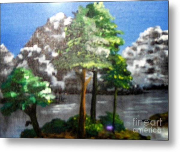 Metal Print featuring the painting Hideaway by Saundra Johnson