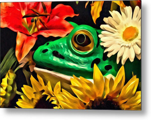 Hiding Frog Metal Print