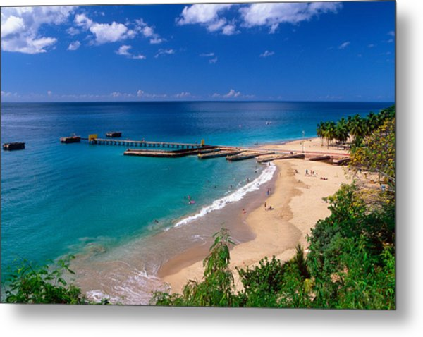 High Angle View Of A Pier On Crashboat Beach Puerto Rico. Metal Print by George Oze