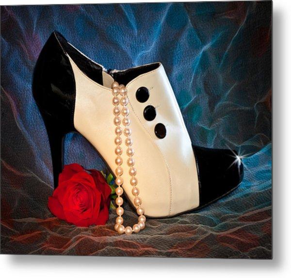 High Heel Spat Bootie Shoe Metal Print