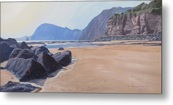 Metal Print featuring the painting High Peak Cliff Sidmouth by Lawrence Dyer