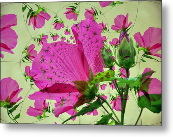 High Tea With Pink Hibiscus Metal Print