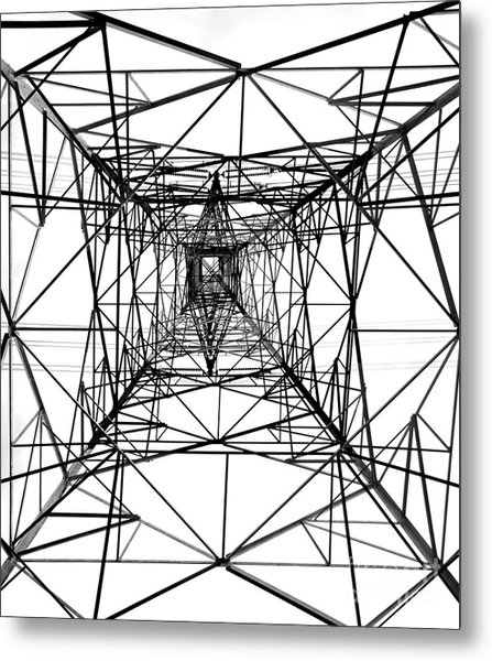 High Voltage Power Mast Metal Print
