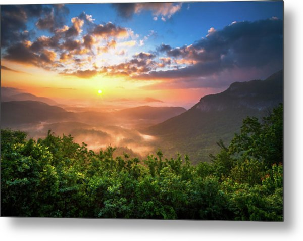 Highlands Sunrise - Whitesides Mountain In Highlands Nc Metal Print