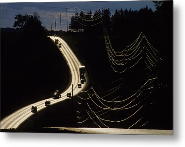 Highway Sunset Metal Print