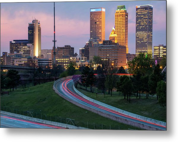 Highway View Of The Tulsa Skyline At Dusk Metal Print