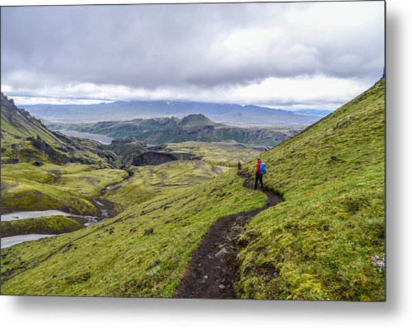 Hiking Into Thorsmork On The Fimmvorduhals Trail Metal Print