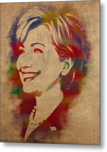 Hillary Rodham Clinton Watercolor Portrait Metal Print