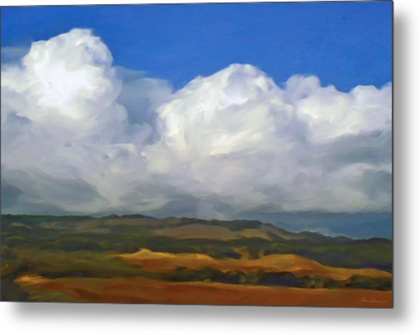 Hills And Clouds Metal Print by Thomas  Hansen