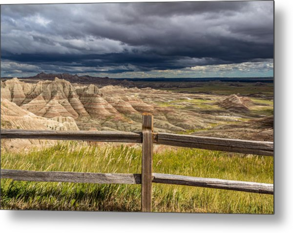 Hills Behind The Fence Metal Print