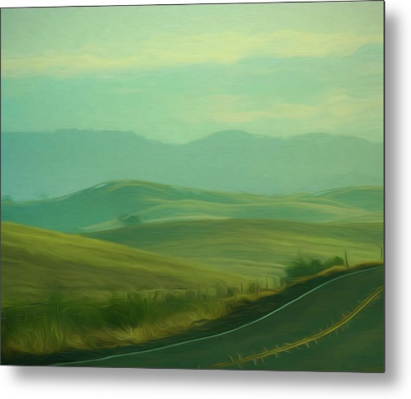 Hills In The Early Morning Light Digital Impressionist Art Metal Print
