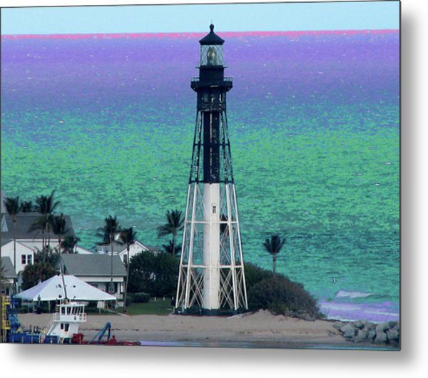 Hillsboro Lighthouse Purple Horizon Metal Print