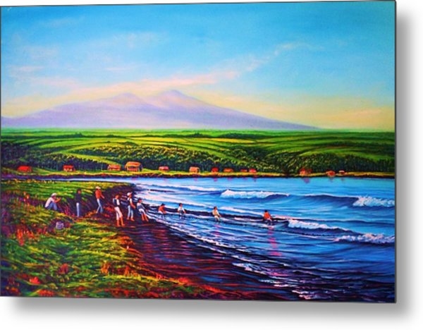 Hilo Bay Net Fisherman Metal Print