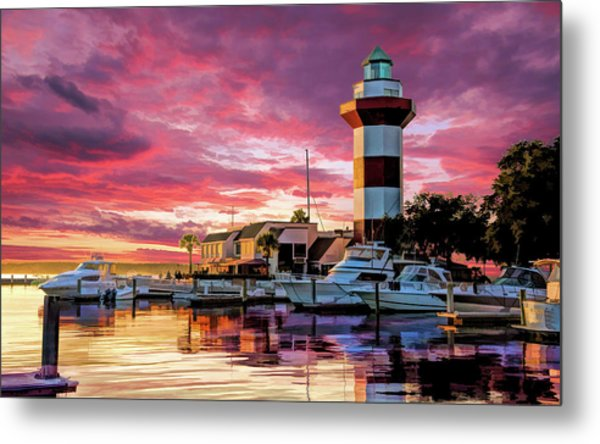 Metal Print featuring the painting Hilton Head Harbour Town Lighthouse by Christopher Arndt