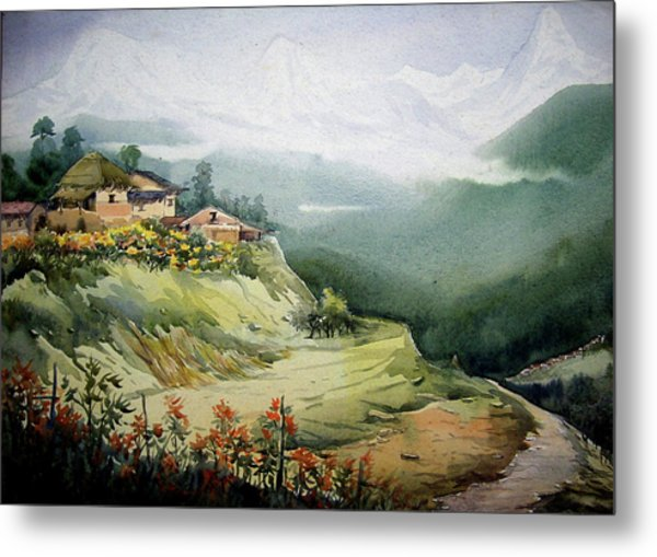 Himalaya Village Landscape Metal Print