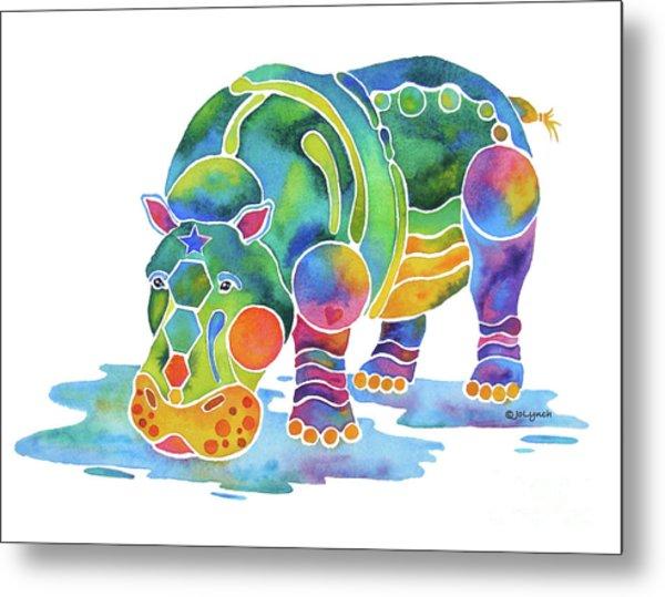Hippo Heaven Metal Print