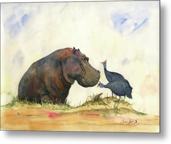Hippo With Guinea Fowls Metal Print