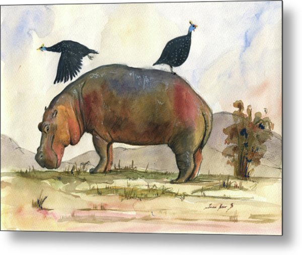 Hippo With Guineafowls Metal Print