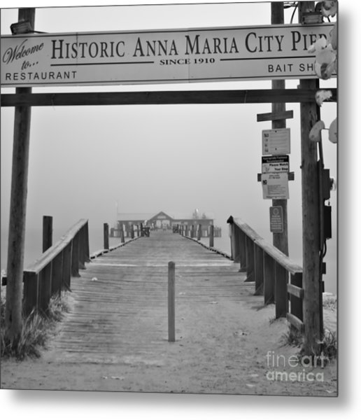 Historic Anna Maria City Pier In Fog Infrared 52 Metal Print by Rolf Bertram