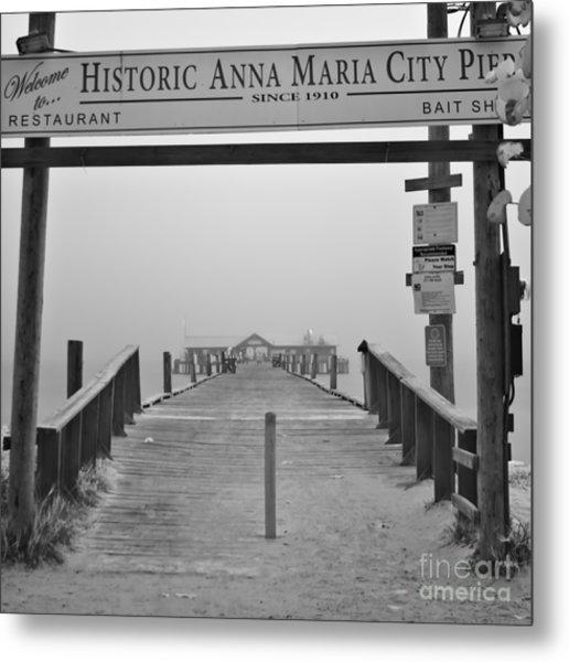 Historic Anna Maria City Pier In Fog Infrared 52 Metal Print