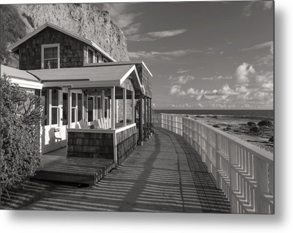 Historic Cottage  Crystal Cove Black And White Metal Print