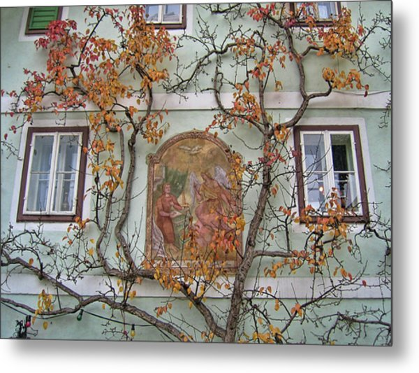 Metal Print featuring the photograph Historic House Facade In Bad Goisern Hallstatt Salzkammergut Aus by Menega Sabidussi