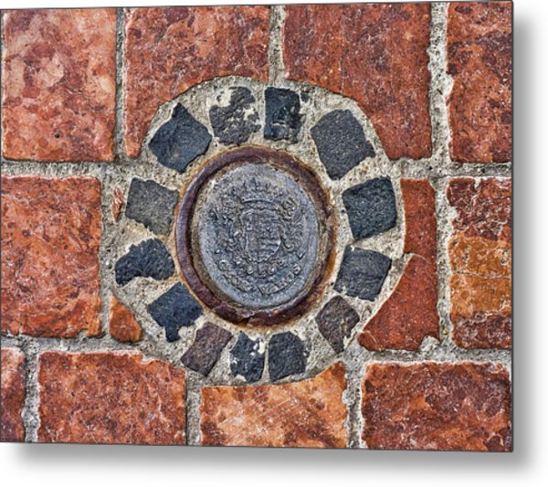 Metal Print featuring the photograph Historic Pavement Detail With Hungarian Town Seal by Menega Sabidussi